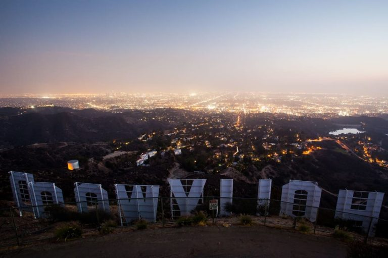 The Hollywood sign on the hills outside Los Angeles, California