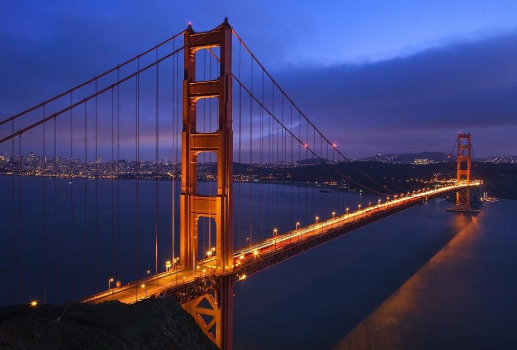 Golden Gate Bridge at night in San Francisco California